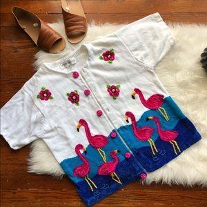 90s Vintage Flamingo Open Cardigan White Pink
